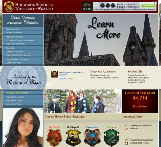 Hogwarts Website